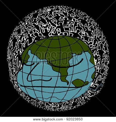Hand drawn Population of Our World ,Vector illustration