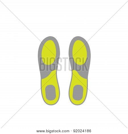 Flat Icon of Shoe Insoles Isolated on White Background