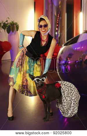 Rockabilly Styled Woman With A Dog