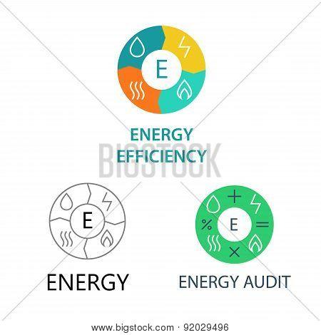 Set template vector logos for energy companies