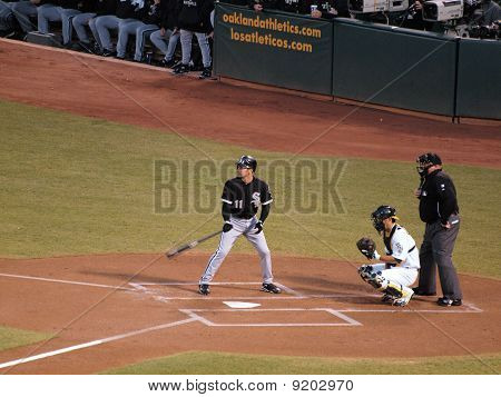 White Sox Omar Vizquel Stands In The Batters Box With As Kurt Suzuki Catching