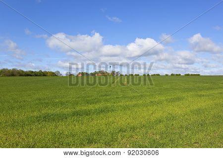 Wolds Farm With Wind Turbine