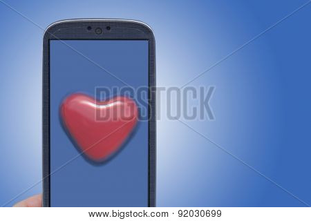 Blue smartphone and blister heart shape. Idea for Valentines Day messages, love, lovers, love apps, Internet, blogs and others.