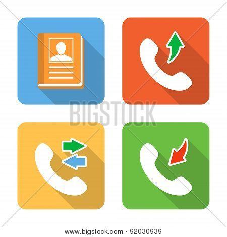 Flat Contacts Icons With Long Shadows. Vector Illustration