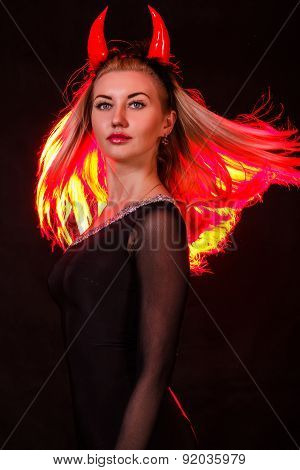 Beautiful Young Woman With Red Demon Horns And Red Hair