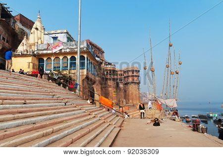 Sankatha Ghat  In Varanasi On The Ganges River