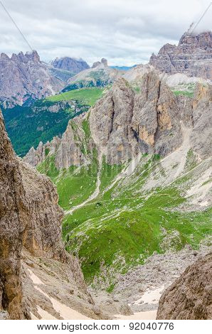 Mountain landscape with blue sky in Dolomites