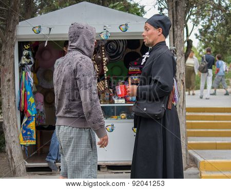 Hersonissos, Crimea - September 03, 2011: Monk Collecting Donations For The Construction Of The Temp