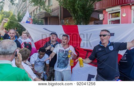 Donetsk, Ukraine - June, 11, 2012: British Sports Fans Sing Hymns Before The Match At The European C