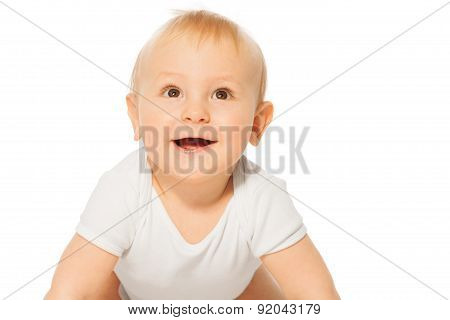 Close-up view of cheerful smiling baby
