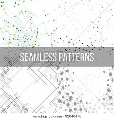 Molecular structure backgrounds, seamless patterns. Business templates for webdesign, science design