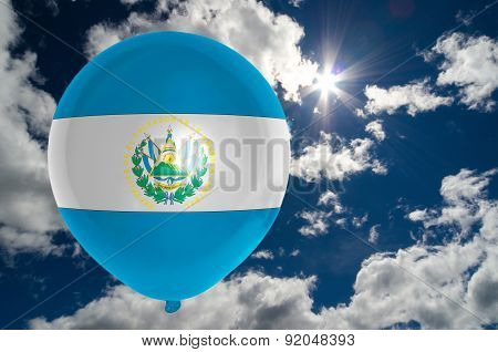Balloon With Flag Of El Salvador On Sky