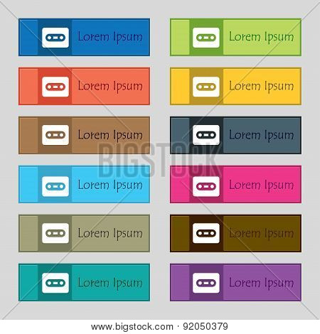 Cassette Icon Sign. Set Of Twelve Rectangular, Colorful, Beautiful, High-quality Buttons For The Sit