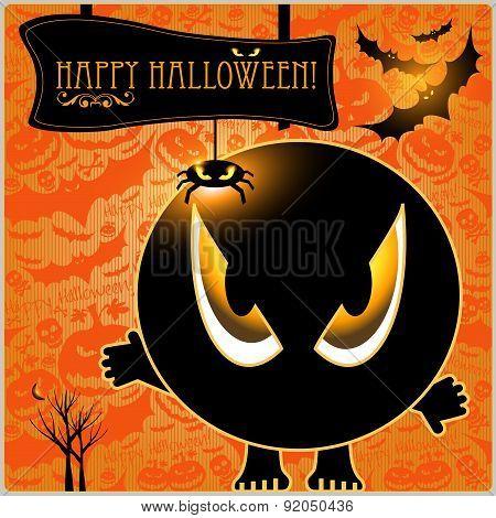 Happy Halloween vector  monster card or background