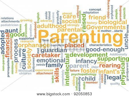 Background concept wordcloud illustration of parenting