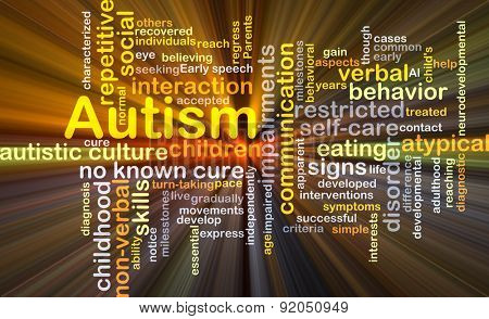 Background concept wordcloud illustration of autism glowing light