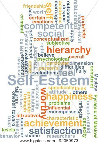 Background concept wordcloud illustration of self-esteem
