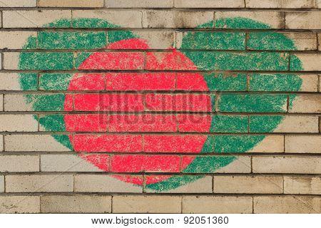 Heart Shape Flag Of Bangladesh On Brick Wall