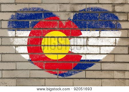 Heart Shape Flag Of Colorado On Brick Wall