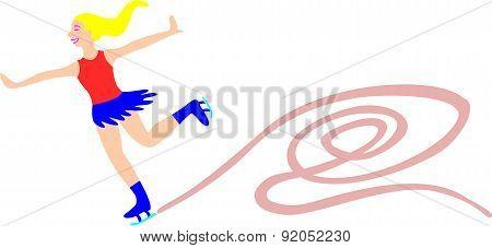 Woman Skates On Ice