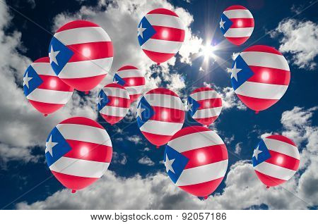 Many Balloons With Puertorico Flag On Sky