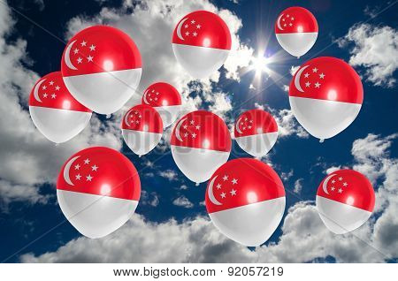 Many Balloons With Singapore Flag On Sky