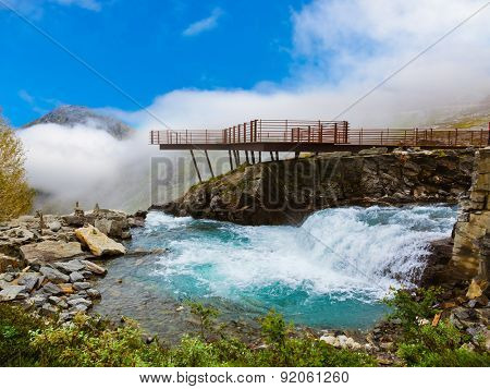 Stigfossen waterfall and viewpoint in Norway - nature and travel background poster