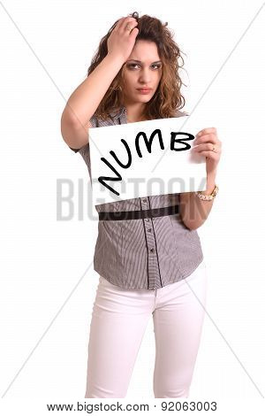 Uncomfortable Woman Holding Paper With Numb Text