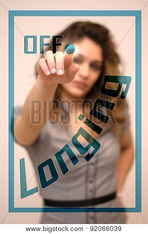 Woman Switching Off Longing On Digital Interace