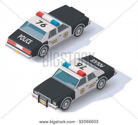 Isometric black and white police car icon
