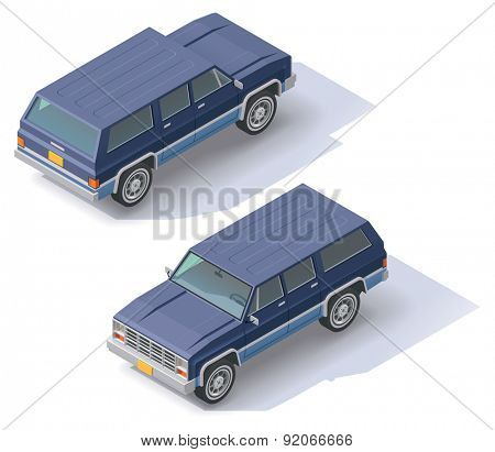 Isometric icon representing sport utility vehicle