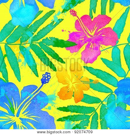 Vivid colors tropical flowers vector seamless pattern