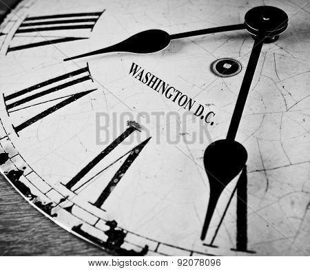 Washington D.c. Black And White Clock Face