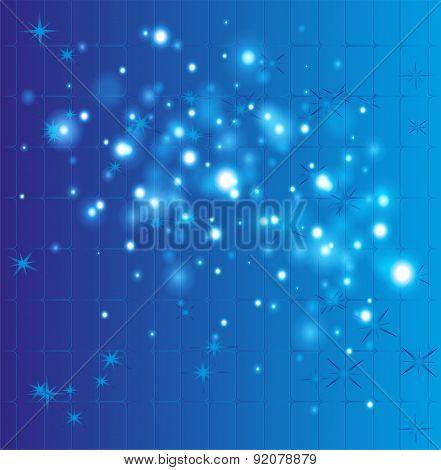 Grid bokeh blue background template