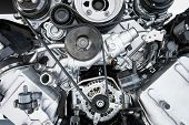 Car Engine - Modern powerful car engine(motor unit - clean and shiny poster