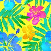 Vivid colors bright tropical flowers watercolor vector seamless pattern poster