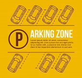 Vector parking lot illustration. Car and transportation, auto park, empty row poster