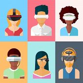 Flat vector head-mounted displays icon set. Virtual and augmented reality gadgets. Glass and gaming cyber application innovation poster