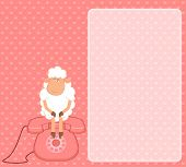 Illustration of cartoon sheep sits on a telephone, waits a bell poster