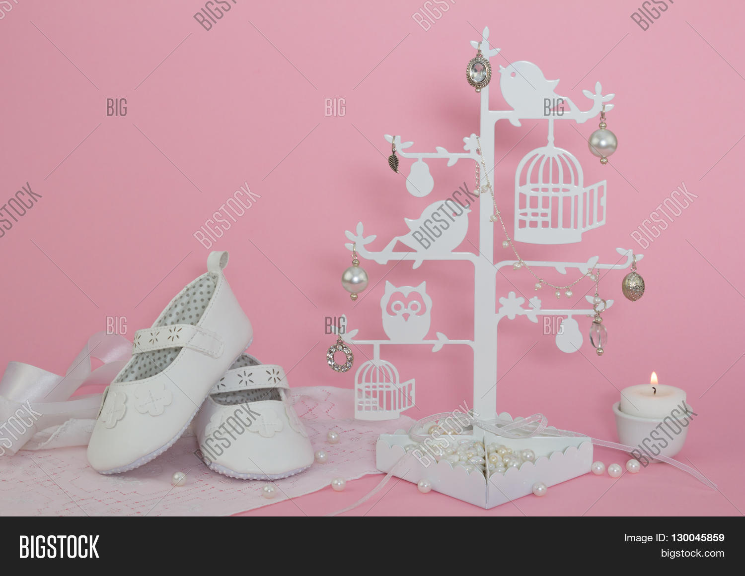 5e1200de790 Baby girl shoes candle and pearls pink invitation background