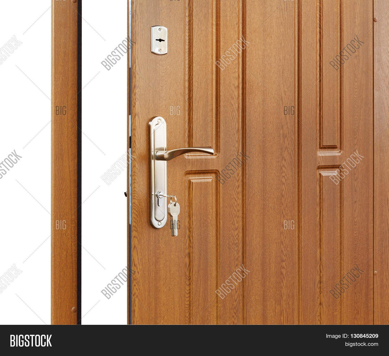 Perfect Open Door Handle. Door Lock With Keys. Brown Wooden Door Closeup Isolated.  Modern