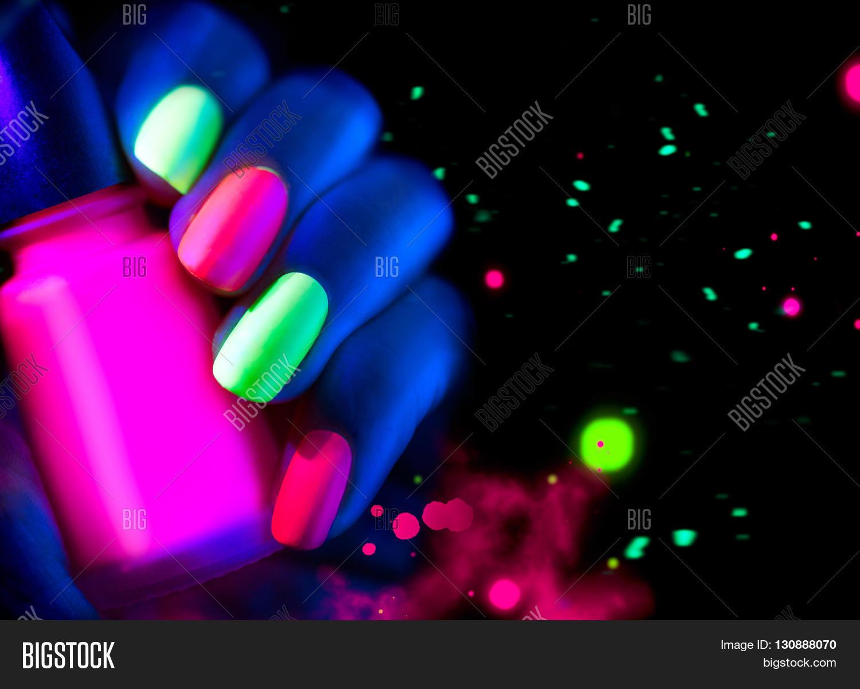 Neon Nails. Fashion Model Woman Image & Photo | Bigstock