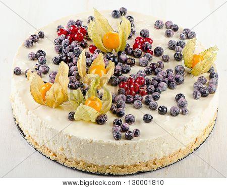 Sweet Cake With Cream Cheese And Fresh Berries.