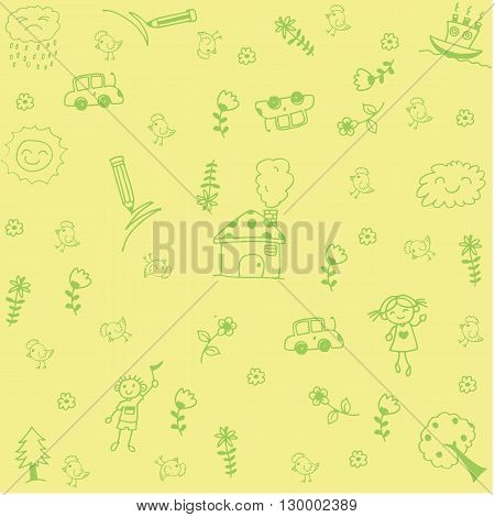 House and leaf doodle art with yellow backgrounds