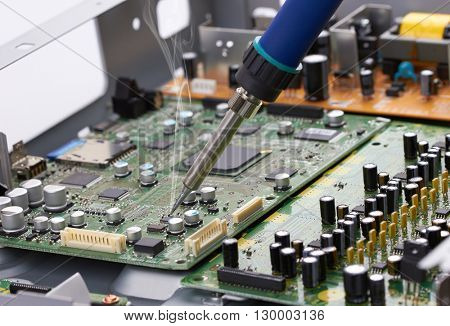 Repair of electronic devices, soldering parts