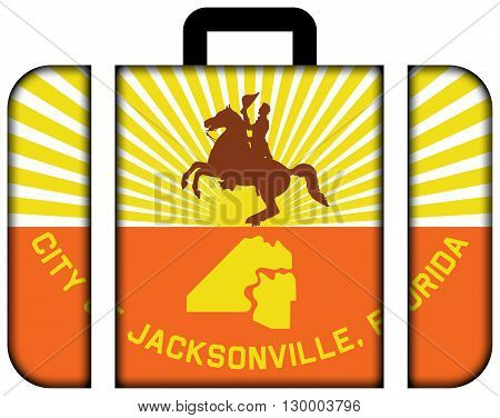 Flag Of Jacksonville, Florida. Suitcase Icon, Travel And Transportation Concept