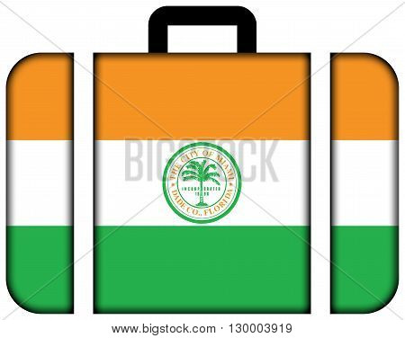 Flag Of Miami, Florida. Suitcase Icon, Travel And Transportation Concept