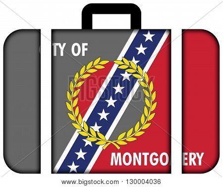 Flag Of Montgomery, Alabama. Suitcase Icon, Travel And Transportation Concept