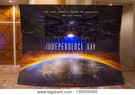 LAS VEGAS - April 13 : A display for the movie 'Independence day resurgence' at Caesars Palace during CinemaCon the official convention of the National Association of Theatre Owners on April 13 2016 in Las Vegas