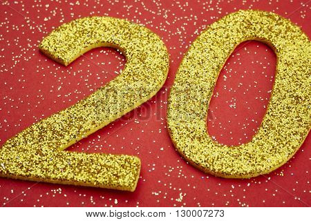 Number twenty yellow color over a red background. Anniversary. Horizontal